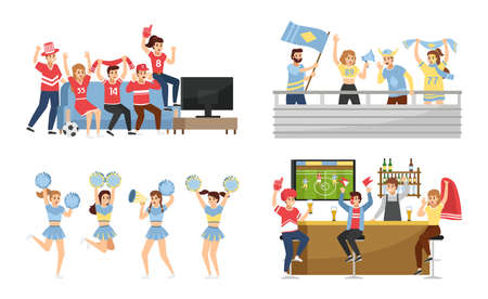 Sport team fans. Supporters group with attributes collection, people wearing favorite team colors, cheerleading to stadium and bar. Men and women with rooter equipment flags and posters vector set