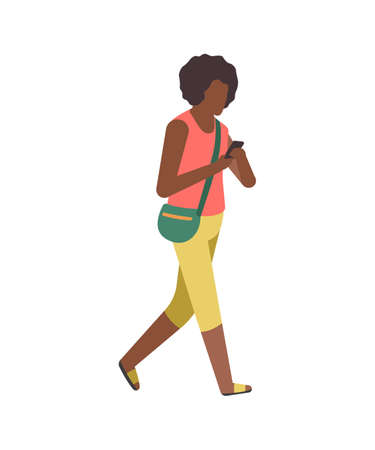 Walking flat cartoon character. Modern young happy cartoon female character in casual clothes walks in park, black woman with smartphone.  イラスト・ベクター素材