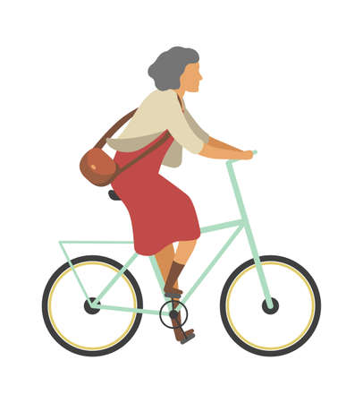 Woman riding bicycle. Old person on bike in dress outdoor activities in park, simple female senior character healthy leisure lifestyle and sport.