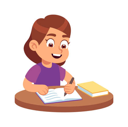 Girl at school desk. Smiling child sitting on chair with books and textbooks, happy student in class, studying lessons educational concept.  イラスト・ベクター素材