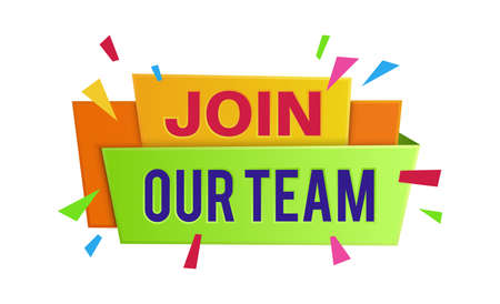 Join our team banner. Announcement vacancy, searching employee and recruiting talent worker bright geometric style poster, help wanted advertising badge.