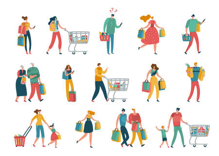 Shopping people. Man and woman with shopping bags in mall, young beautiful fashion buyers for sale or discount advertising.  イラスト・ベクター素材