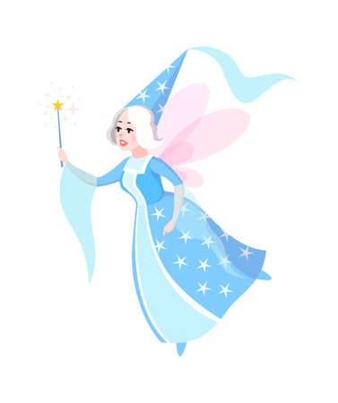 Fairy tales character. Cartoon woman in blue dress and cone hat with butterfly wings flying, sorceress with magic wand, fantasy creature witch, kids fairytale myth flat vector isolated illustration