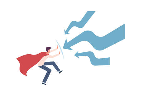 Man try stopping finance decrease. Super hero in cloak and falling arrows, economic crisis and recession, sinking business and bankruptcy.