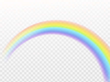 Rainbow arch. Realistic symbol of rain perspective view isolated on transparent background natural weather effect, multicolor reflection in sky.  イラスト・ベクター素材