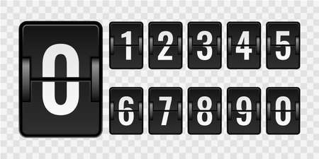 Mechanical scoreboard. Realistic countdown numbers for counter isolated on transparent background, vintage watch with white flip scores on black plaques.
