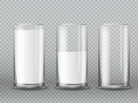Milk glass. Realistic empty and full milk glasses, cup with white liquid yogurt, morning dairy beverage product. vector isolated illustration on transparent background