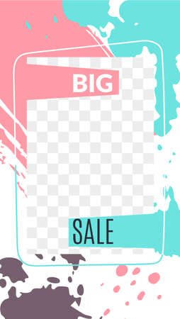 Stories editable stories template. Big sale web poster, template transparent layers turquoise stains and pink splashes.