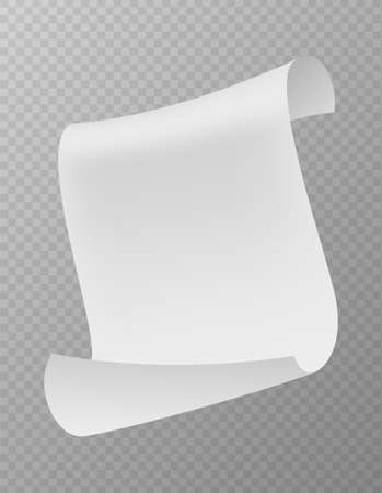Flying paper sheet falling down with curved corners. Realistic blank white paper, scattered empty note, clean office document in air mockup.  イラスト・ベクター素材