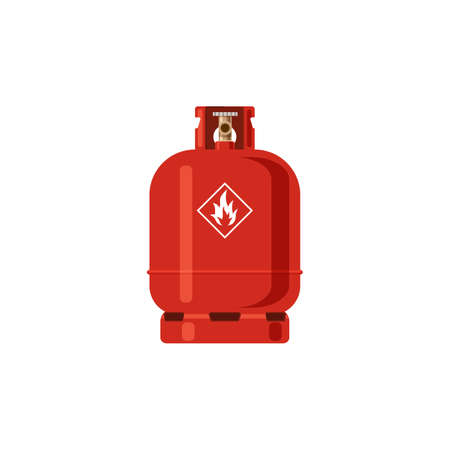Gas cylinder. Red Lpg propane container with fire icon, tank with industrial liquefied compressed high pressure oxygen, canister fuel storage.