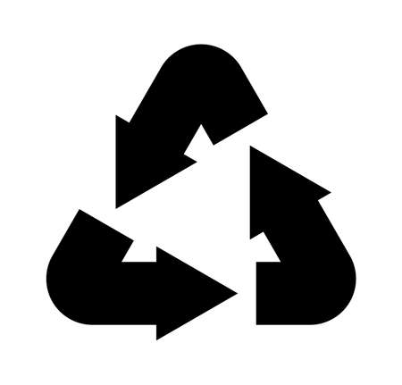 Recycling icon. Simple black environmental label, eco triangle emblem with arrows, packaging reuse ecological symbol. Recyclable sign vector isolated illustration