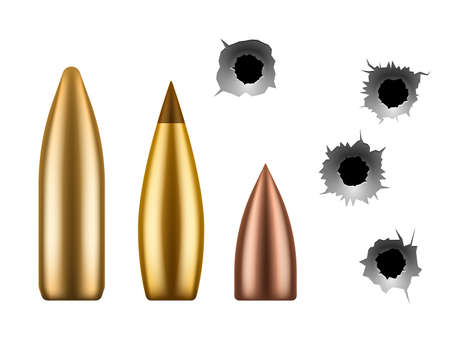 Bullets and bullet holes. Circle hole in metal wall, close up gunshot grunge texture and metallic caliber of weapon, 3d military shoot gun element vector isolated set.