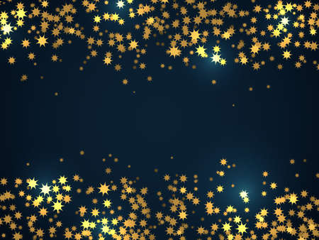Stardust sparks confetti. Festive decoration glowing frame, shiny gold stars on black background, holidays party sparkly particles decor.