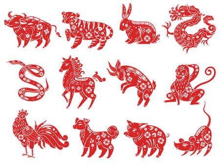 Chinese Zodiac animals. Astrological signs, traditional oriental Asian style horoscope, twelve animal red silhouettes collection with decor and ornaments.  イラスト・ベクター素材