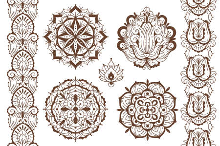 Mehndi elements. Ethnic temporary henna tattoo elegant brown ornaments, oriental seamless borders and mandalas, indian traditional floral laces design.