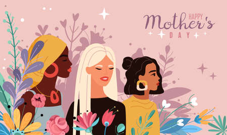Mothers day. Women portraits with bouquets flowers, spring and love inspiration cartoon poster, multinational beautiful young moms.
