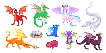Magic dragons. Fantasy funny creatures, big flying fairy animals, fire-breathing legendary characters, adults and babies mythical reptiles.  イラスト・ベクター素材