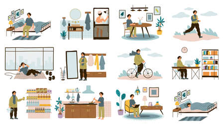 Daily man routine. Everyday young guy life activities, male leisure and work, home and office, sport and walk, sleep and breakfast. Different everyday situations.  イラスト・ベクター素材