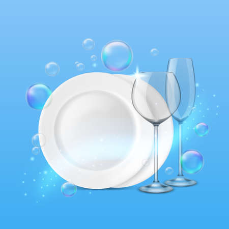 Dish wash. Realistic shiny dishes cleanness, fresh porcelain plates and wine and champagne glasses, soap bubbles around.