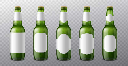 Beer bottle labels. 3d realistic green glass bottles with different blank label options templates, alcohol drink pack mockup.