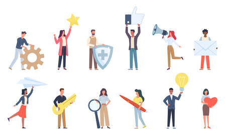 Tiny people with social media icons. Small characters with big signs objects, little men and women hold online apps symbols, messages and ideas.  イラスト・ベクター素材