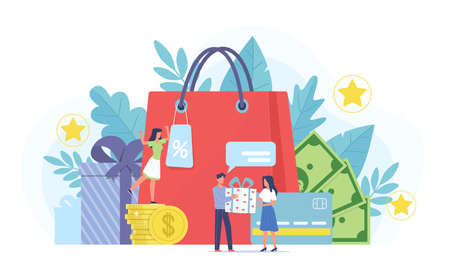 Loyalty program. Marketing customer service, tiny people and gifts, bonus points, cash and reward card, cashback for purchase.  イラスト・ベクター素材