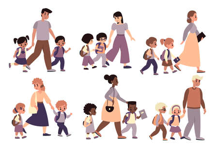 Parents with children walk set. Moms and dads hold hands and accompany kids to school, pupils with adults going class, morning send-offs collection.
