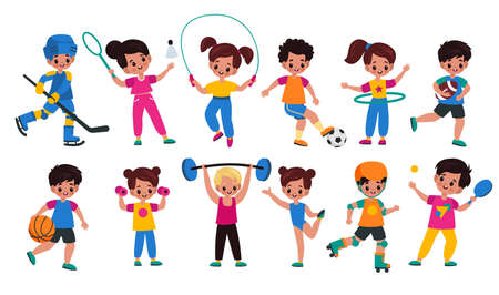Sport kids. Children with sports attributes, boys and girls with different balls, fitness accessories and rackets. Young characters plays hockey and tennis, rugby and basketball.
