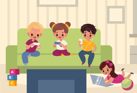 Children playroom. Kids with gadgets in room interior, boys and girls use means social communication, new generation digital lifestyle with smartphones and laptops.