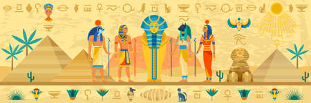 Ancient Egypt. Egyptian mythology storyline, hieroglyphic frame, religion architecture and idols statues with ornaments, Pharaoh sarcophagus.