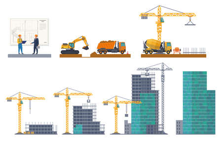 Building stages. House emergence, project discussion, pit digging, foundation pouring, frame construct, concrete panels. Machinery and equipment crane.