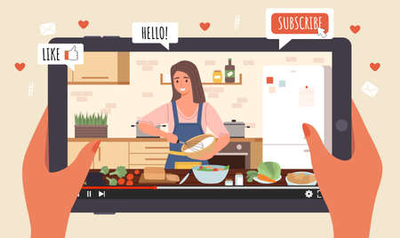 Cooking Live Streaming. Hands hold tablet with video, blogger prepares meal online, woman cooks homemade food, blog apps icons.  イラスト・ベクター素材
