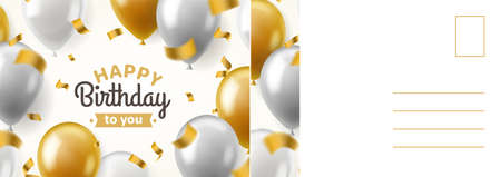 Happy birthday postcard. Holiday card with realistic golden and silver balloons, confetti festive decor, letter template with congratulate text.  イラスト・ベクター素材