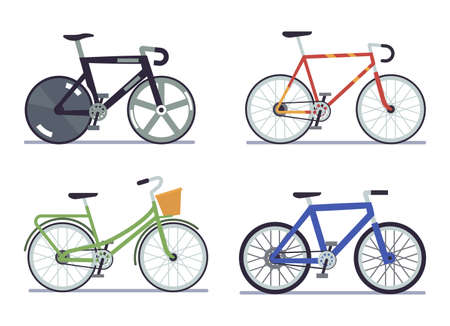 Bike set. Extreme sports and road bike, cruising and dutch side view bikes collection, walking modern urban vehicle.