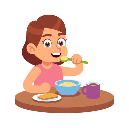 Cute girl eating. Smiling cute hungry toddler sits at table and eats delicious cereal or muesli with spoon, flat vector cartoon isolated character.