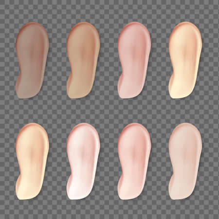 Cream makeup foundation. Realistic cosmetic smears different natural colors, face make up creamy, mousse or lotion products closeup tone sample, vector isolated on transparent background concealer set. Vektorové ilustrace