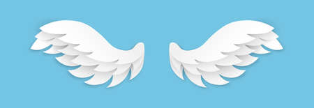 Paper cut wings. Origami flying angel wing, white feathers decoration of heaven bird, vector isolated element magic dream artificial blue background.