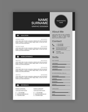 Professional resume letterhead. Black and white cv template, customizable document design for hiring job, description of professional qualities and skills vector blank.