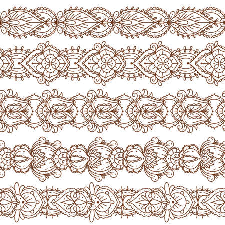 Seamless mehndi borders. Traditional indian ethnic temporary tattoo, yoga flower detailed pattern, natural paint henna elegant brown ornament, oriental hand decor collection. Vector isolated set Vettoriali