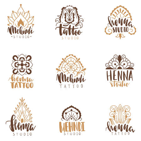 Mehndi beauty salon emblems. Mandala henna tattoo studio icons, indian ethnic body decoration ornaments logotype collection with hand drawn text, beauty fashion spa logo designs. Vector isolated set