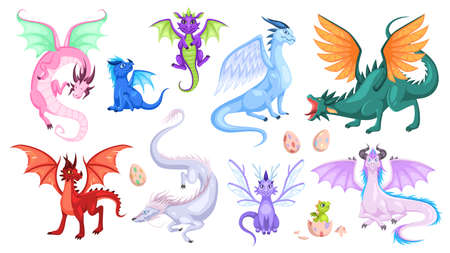 Fairy dragons. Fantasy colorful creatures, medieval magic fairy tails animals, fire-breathing mythical reptiles, flying dinosaurs. Childish bright collection for design cartoon vector isolated set