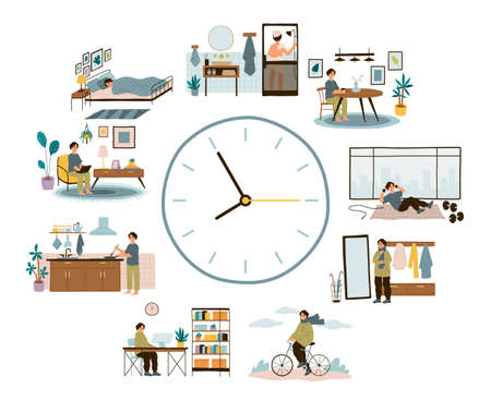 Man daily schedule. Lifestyle activities temporal distribution, round clock planning time different everyday situations, relax and work, vector cartoon isolated concept.