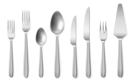 Realistic cutlery. 3d silverware clean closeup top view collection, steel flatware knives, spoons and forks. Restaurant table setting tools design template vector isolated on white background set