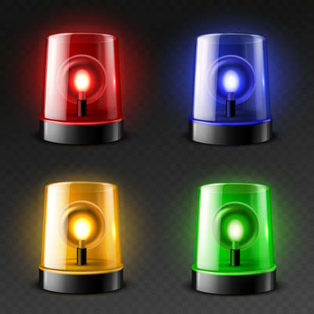 Realistic car flasher sirens. 3d emergency services color lamps, danger rotating lights, green, orange, red and blue glow. Fire department, police and medical cars beacon elements. Vector isolated set Vettoriali