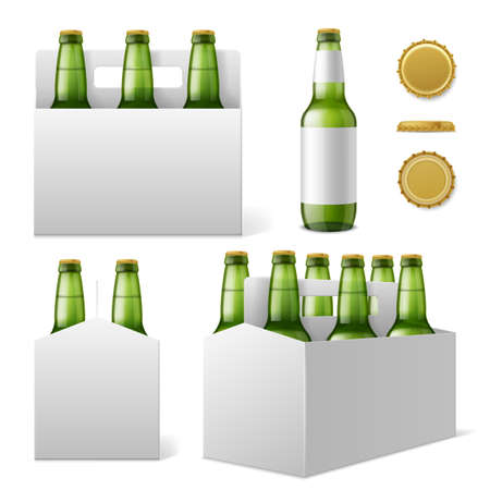 Beer bottles six pack. Realistic 3d green bottle with blank labels, special cardboard box with carrying handle, different angles drink packaging. Product advertising template vector isolated set.