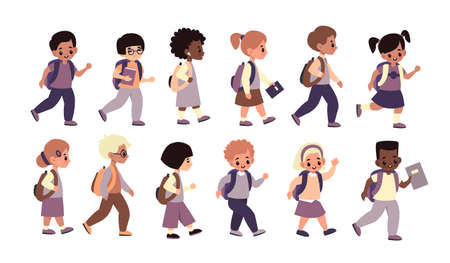 Children going school. Happy students line walk to class, multicultural pupils with backpacks and textbooks hurry to lessons, girls and boys get education. Cartoon flat vector childhood collection.