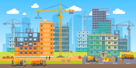 Building site. Construction work big area, special machines crane, concrete mixer and truck, engineers builders people. Unfinished skyscraper, house frame and panels. Vector flat cartoon bright poster Vettoriali