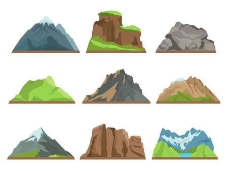 Cartoon mountains silhouettes. Rocky ridges, different hills types, snowy peaks, natural terrains, extreme tourism vector flat isolated on white background set.