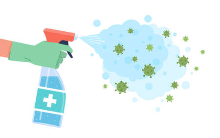 Disinfection coronavirus. Sprayed disinfectant kill bacteria and viruses, cleaning surface, hygienic protective cleaner, bacterial attack and prevention epidemic covid-19 vector flat cartoon concept.