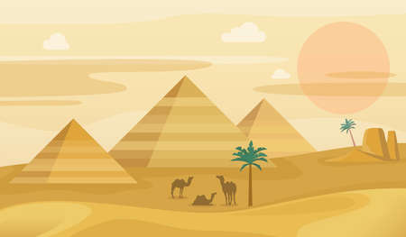 Egypt desert landscape. Egyptian pyramids with camels silhouette, hot sahara sunset, palm trees and mountains. tourism and travel illustration vector horizontal background. Vettoriali